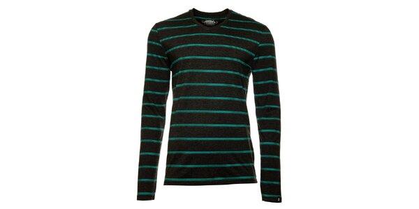 Pánske tmavo šedé tričko s dlhým rukávom a pruhmi Fundango