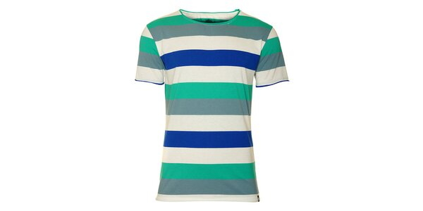 Pánske biele tričko Fundango s farebnými prúžkami