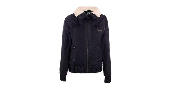 Dámska čierna zimná bunda Fundango s límcom