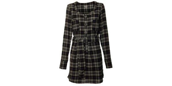 Dámske tmavo šedé kockované šaty Fundango