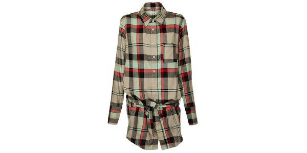 Dámska šedo-zeleno-červená kockovaná košeľa Fundango
