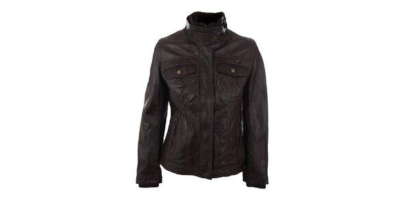 Dámska čokoládovo hnedá bunda z jahňacej kože Company&Co