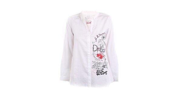 Dámska biela košeľa s aplikáciami Desigual