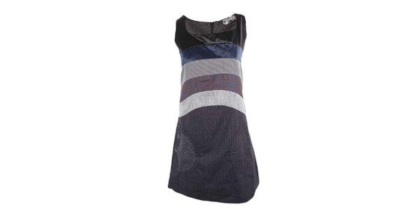 Dámske šedo-čierne šaty s fialovým pruhom Desigual