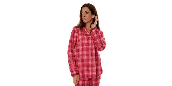 Dámsky ružový kockovaný pyžamový kabátik Calvin Klein