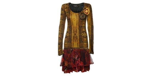 Dámske zlato-červené pestré šaty Desigual