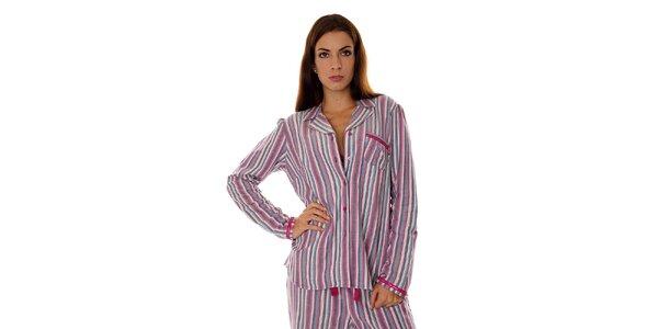 Dámsky ružovo-fialový prúžkovaný pyžamový kabátik Calvin Klein