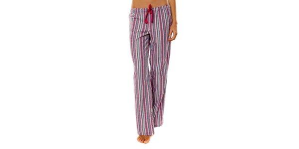 Dámske ružovo-fialové prúžkované pyžamové nohavice Calvin Klein