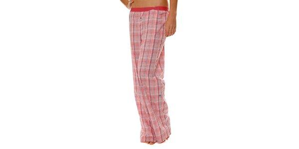 Dámske ružové kockované pyžamové nohavice Calvin Klein
