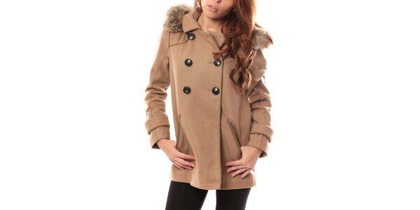 Dámsky svetlo hnedý kabát s kapucňou My Little Poesy