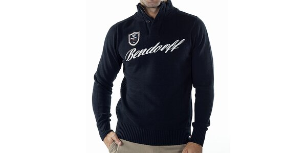 Pánsky tmavo modrý sveter s nášivkou Bendorff
