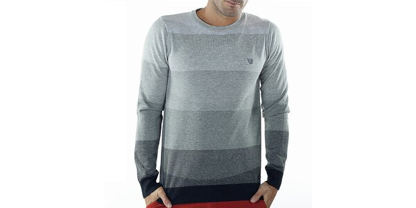 Pánsky šedý sveter s pruhmi Bendorff
