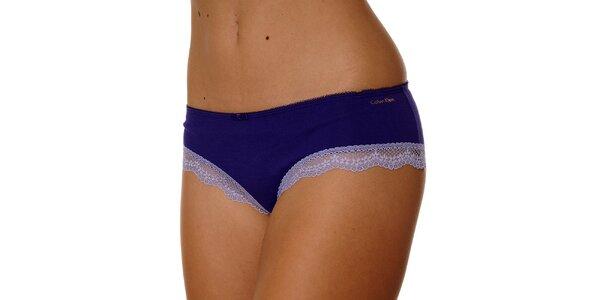 Dámske fialové nohavičky Calvin Klein s čipkou