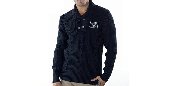 Pánsky tmavo modrý sveter s vrkočovým vzorom Bendorff