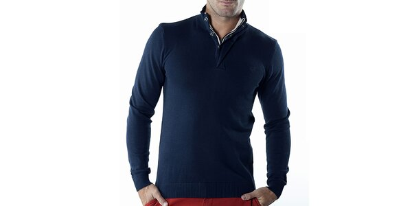 Pánsky tmavo modrý sveter so zipsom Bendorff