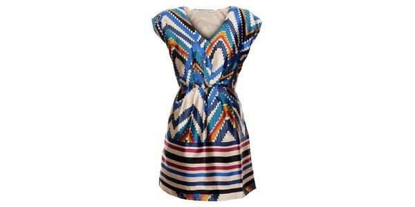 Dámske krémové šaty Uttam Boutique s indiánským vzorom