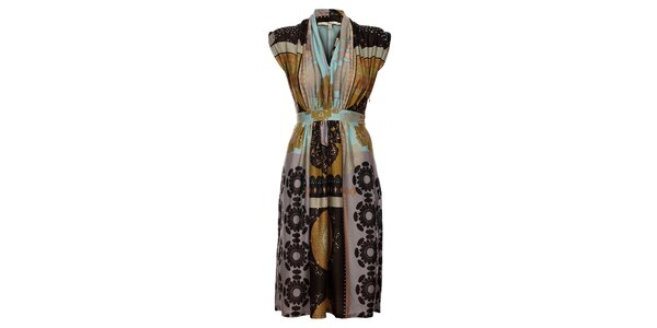 Dámske svetlo hnedé šaty Uttam Boutique s potlačou