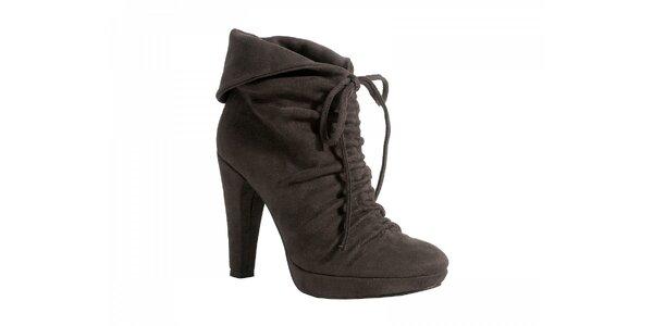 Kotníčkové šedo - hnedé topánky so zaväzovaním