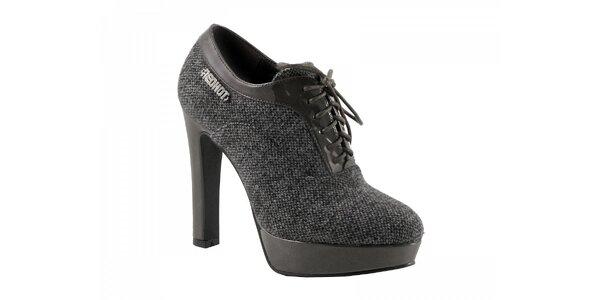 Šedé topánky na podpätku so zaväzovaním