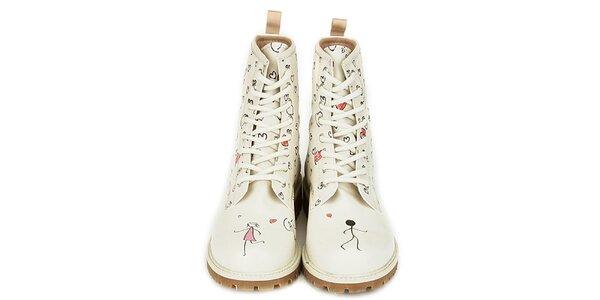 Dámske krémovo biele členkové topánky s potlačou Dogo