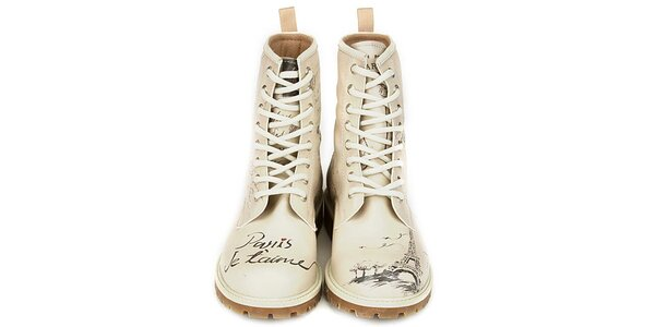 Dámske krémovo biele členkové topánky s motívom Paríža Dogo