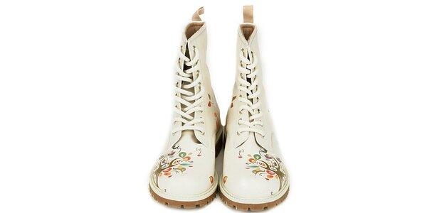 Dámske krémovo biele členkové topánky s prírodným motívom Dogo