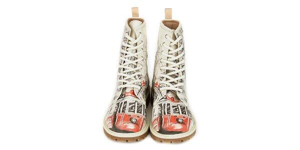 Dámske šnúrovacie členkové topánky s potlačou električky Dogo