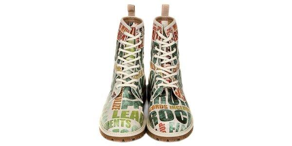 Dámske šnúrovacie členkové topánky s rockovou tématikou Dogo