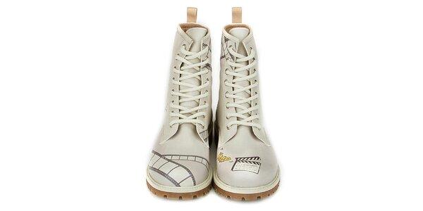 Dámske krémovo biele členkové topánky s filmovou tématikou Dogo