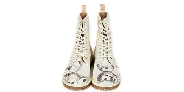 Dámske krémovo biele členkové topánky s potlačou medvedíka Dogo