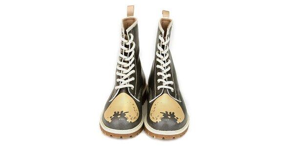 Dámske čierne členkové topánky so zamilovanou potlačou Dogo