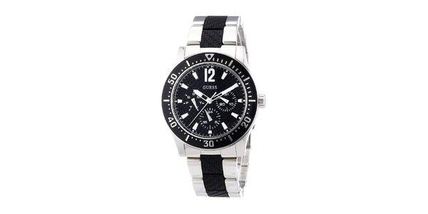 Dámske analógové hodinky s čiernym ciferníkom Guess