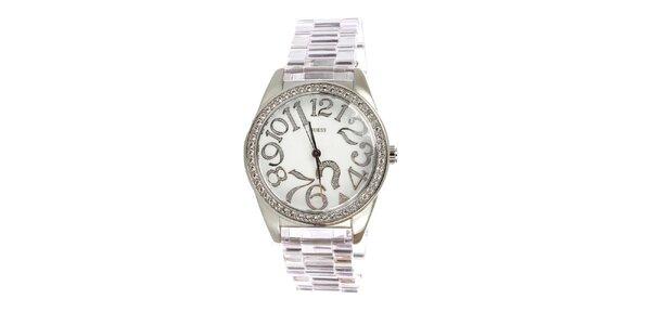 Dámske strieborné hodinky Guess s bielym ciferníkom