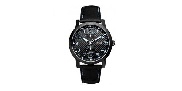 Pánske čierne hodinky s modrými detailmi Guess