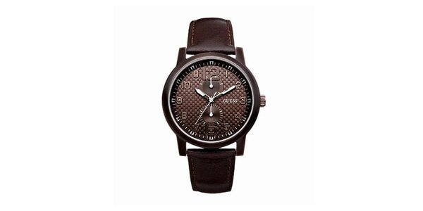 Pánske hnedé analógové hodinky Guess