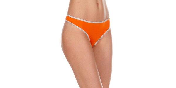 Dámske oranžové tangá Dolce & Gabbana s šedivým lemom
