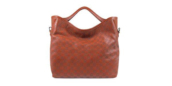 Hnedá kockovaná kabelka Belle & Bloom