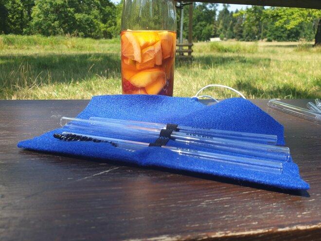 Steeblo set sklenených Straw - modrý
