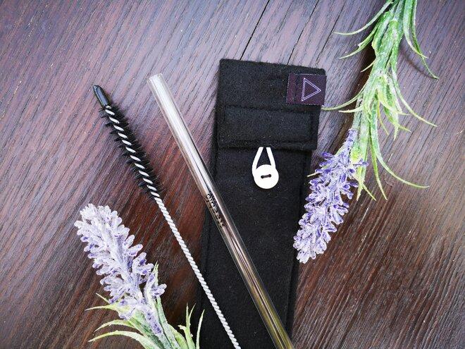 Steeblo set sklenených slamiek One straw - čierna