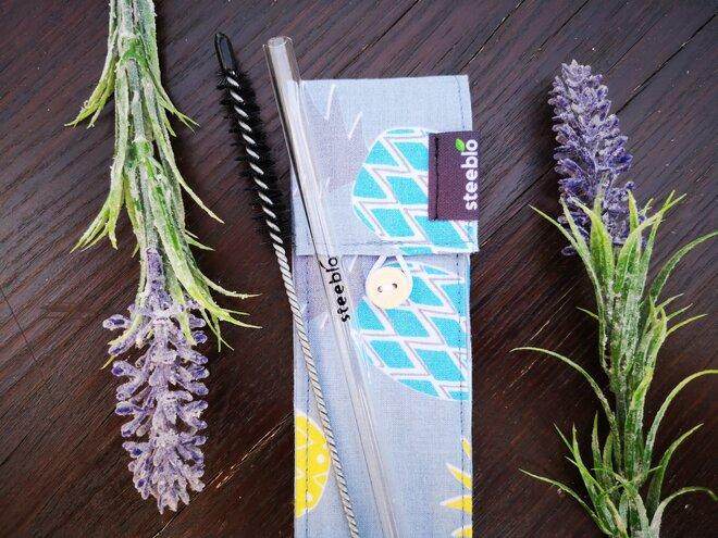 Steeblo set sklenených slamiek One straw - ananás