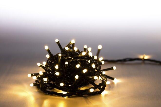 Svetelná reťaz 100 LED (teplá biela + tmavozelená so svetelnými efektmi)