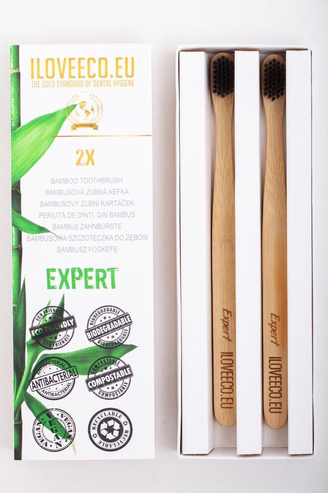 2-dielna Sada bambusových zubných kefiek EXPERT (extra jemné)