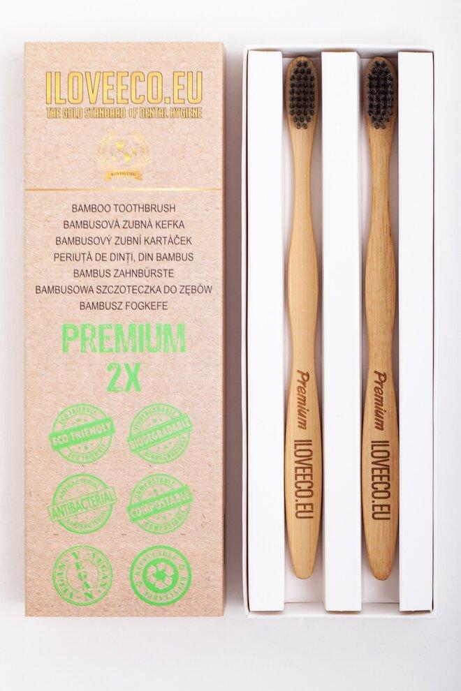2-dielna Sada bambusových zubných kefiek PREMIUM (extra jemné)