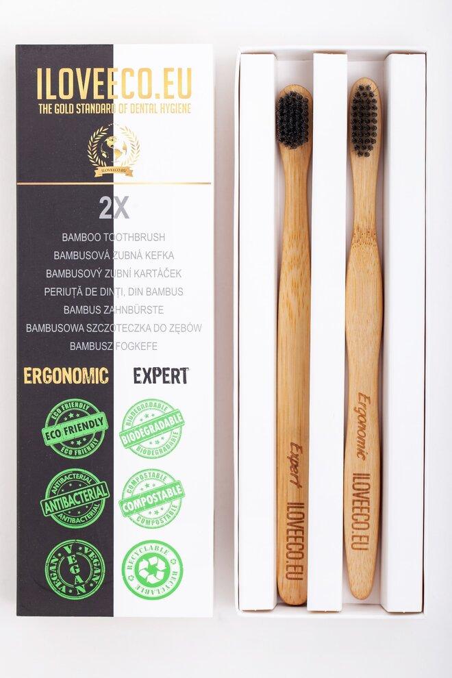 2-dielna Sada bambusových zubných kefiek EXPERT + ERGONOMIC (extra jemné)
