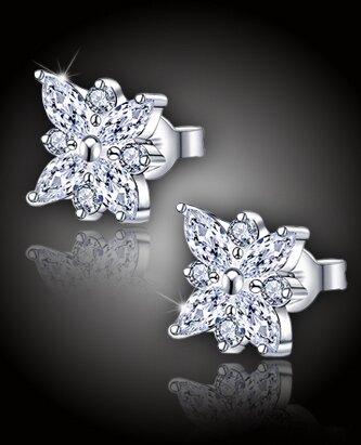 """Trblietavé náušnice očarujúca """"Diamantová kvetina"""""""