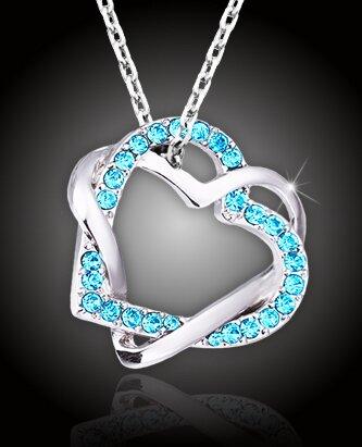 Prepletené srdcia s aquamarínovo modrými kryštálmi