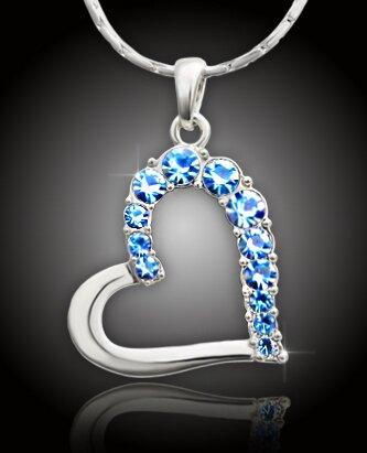 Veľké srdce s blankytno modrými kryštálmi Swarovski Elements