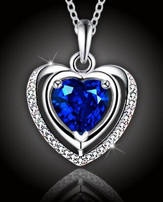 """Luxusný náhrdelník """"Crystal Blue Heart"""""""