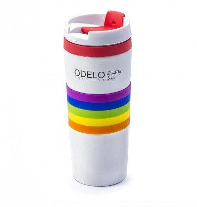 0,38 l Termohrnček ODELO OD1220 (biela s farebnými pásikmi)