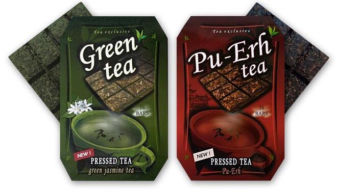 70 g Čaj v tvare čokolády Pu-Erh + 70 g Zelený čaj s jazmínom (2 x 70 g)